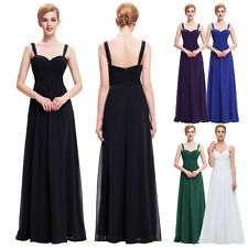 Elegant Womens Spaghetti Strap Chiffon Party Bridesmaid Cocktail Long Maxi Dress