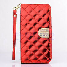 Premium Leather Handbag Wallet Case Bling Diamond For Samsung Galaxy Note 4 WT