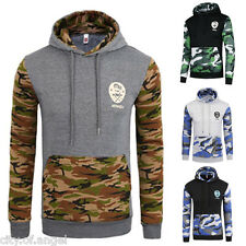 Mens Long Sleeve Camo Hoodie Hooded Sweatshirt Sweater Tops Jacket Coat Outwear