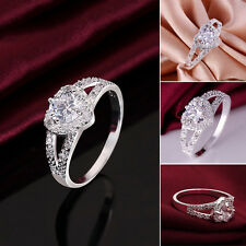 Fashion 925 Silver Plated Charm Crystal Heart Wedding Bridal Ring Women's Gift