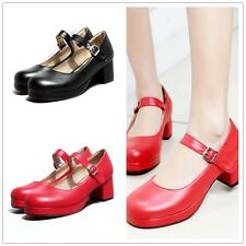 Sweet Women Pumps Round Toe Lolita Mary Janes Ankle Strap Block Heel Shoes