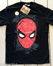 NWT Youth Marvel Comics Spiderman Head Black T Shirt Size M