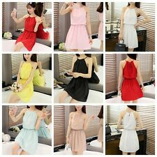 Graceful Women Strapghetti Strap Slim Solid Cocktail Party Casual Knee Dress