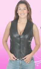 New Motorcycle Classic women Braided Trim Side Laced Black Leather Vest