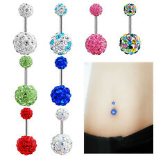 Navel Belly Button Ring Barbell Rhinestone Crystal Ball Piercing Body Jewelry TO
