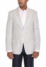 Tommy Hilfiger Trim Fit Light Gray Textured Two Button Linen Blazer Sportcoat
