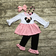 Girls Minnie Mouse Pink Polka Dot Ruffle Boutique Outfit Necklace Bow Set 2T-7