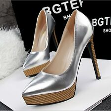 New Womens Ladies Shoes Platform Stiletto High Heels Pump Work OL Shiny PU Shoes