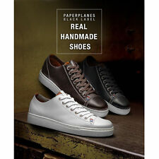 PP2004 Real Handmade Leather Men Casual Shoes Lace Up Fashion Sneakers Trainers