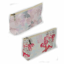 LADIES MAKE UP TRAVEL WASH BAG GIRLS PINK BUTTERFLY FLAT PACK ELLA PURSE 73118