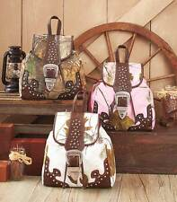 Realtree Camo Fashion Backpack Western Cowgirl Style Purse Bag White Pink Green
