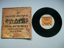 "BON JOVI - Wanted Dead Or Alive RARE 1986 UK 7"" 45 Vinyl Single P/S JOV1 EX+/EX"