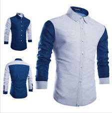 Fashion Men's Casual Slim Patchwork Lapel Long Sleeve Fit Dot Handsome Shirts