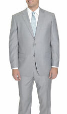 Raphael for Raphael Solid Light Heather Gray Two Button Suit