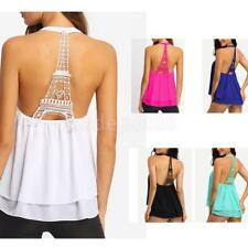 Sexy Backless Eiffel Tower Chiffon Tops Loose Blouse Vest Cami Clothes for Women