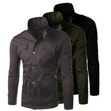 Casual New Mens Slim Zip Button Stand Collar Jacket Coat Military Style Overcoat