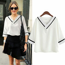 Graceful Women White V-Neck Batwing Sleeve Loose Chiffon Shirts Solid Tops Gift