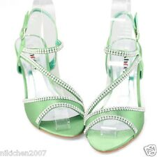 womens kitten heels comfort sandals green evening dress party prom wedding shoes