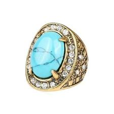 Blue Turquoise Rhinestone Ring Gold Pattern Carved Rings Unisex