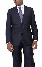 Apollo King Classic Fit Navy Blue Pinstriped Two Button Wool Suit