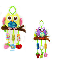 baby infant purple yellow owl rattle cot  bed pram hanging  developmental toy