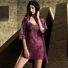 Women sexy Lace See-through Nightgown Robe Sleepwear Silk Home Night Lounge Wear