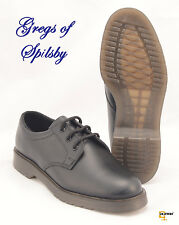 New Mens Grafters Black Leather Plain Uniform Work Shoes With Air Cushion Soles