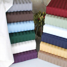 Cal-King Size Duvet Set+Fitted Sheet 1000 TC 100%Egyptian Cotton All Strip Color