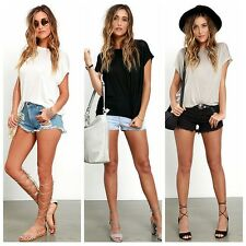 Stylish Women Batwing Sleeve Cotton Solid T-Shirts Tee Casual Tops Blouse S-XL