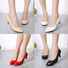 Women Ladies Low Mid High Kitten Heel Work Casual Smart Court Shoes Pumps IAU