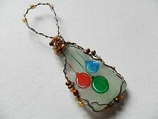 Shiny baubles - Hand painted crafted beaded sea glass Christmas tree decoration