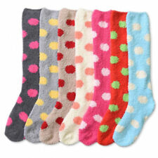 4~12pairs Women Winter Socks Cozy Fuzzy Dots Slipper Long Fleece Knee High Lots