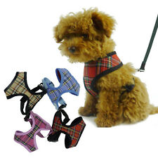 Adjustable Soft Fabric Padded Dog Grid Tartan Harness Puppy Pet Lead Leash
