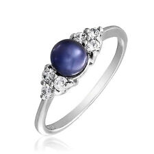 Bling Jewelry Sterling Silver CZ Gray Freshwater Cultured Pearl Dress Ring