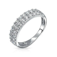 Bling Jewelry CZ Double Row Half Eternity Band 925 Silver