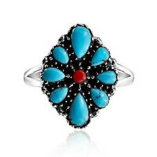 Bling Jewelry 925 Silver Oval Simulated Turquoise Southwest Style Ring