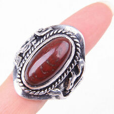 HANDMADE 925 Sterling Silver Chic Brown Agate Gemstone Ring Size 10 M1736