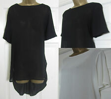 NEW EX Marks & Spencer Tunic Top Long Blouse M&S Sheer Dip Hem Black Ivory 10-20