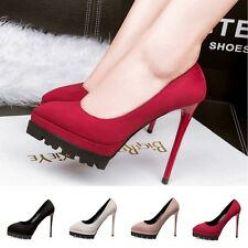 Sexy High Heels Pointed Toe OL Pumps Platform Stilettos Womens Suede Work Shoes