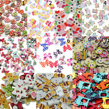 100/50pcs Mixed Colored Drawing Wooden Buttons Sewing Scrapbooking DIY Craft
