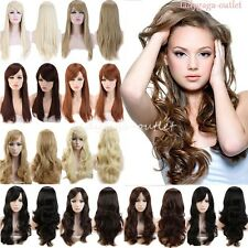 Fashion Womens Long Hair Full Wig Natural Curly Wavy Straight Synthetic Wigs USA