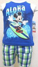NEW Disney Mickey Mouse Tee Top Shirt Shorts Set 2 Pieces Boys Size 18 Months