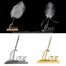 White Feather Signing Pen with Metal Love Holder Wedding Pen Set