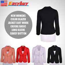 New Color Basic Long Sleeve Candy Button Work Casual Womens Blazer Jacket Suit