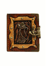 Happy Cat Pendant Handmade Refillable Leather Journal / Diary / Notebook