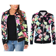Fashion Womens Floral Bomber Jacket Long Sleeve Zipper Blazer Suit Outwear Coat