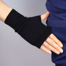 New Cashmere Wool Fingerless Gloves Arm Warmer Mitten Stretchy Wrist Long Black
