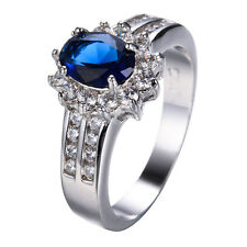 Size 6-12 Blue Sapphire CZ Wedding Band 10KT White Gold Filled Wedding Gift Ring