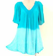 India Boutique Short Sleeve Tunic Style Top / Cover Up -FREE SIZE, ONE SIZE, NWT