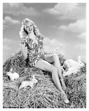 Sexy Movie Actress Adele Jergens On Haystack With Rabbits Publicity Photo